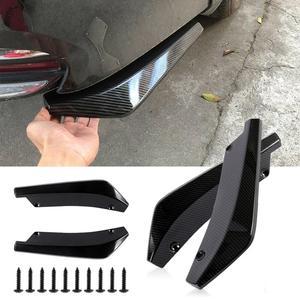 2pcs Universal Car Rear Bumper Carbon Fiber Lip Angle Splitters Diffuser Bumper Lip Diffuser Splitter Spoiler Scratch Protector