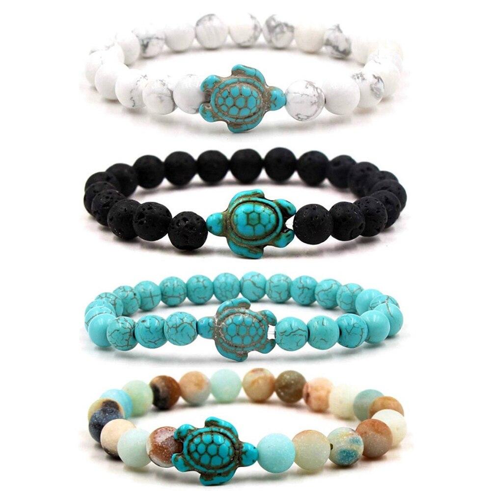 4 Types Natural Howlite Amazonite Lava Stone Bracelets Charm Little Turtle Unisex Couple Gift Women Men Femme Jewelry Dropship|Strand Bracelets| - AliExpress