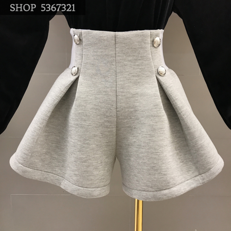 2019 New Autumn Solid Color High Waist Loose Wide Leg Trousers Women's Fashion Space Cotton Boots Shorts