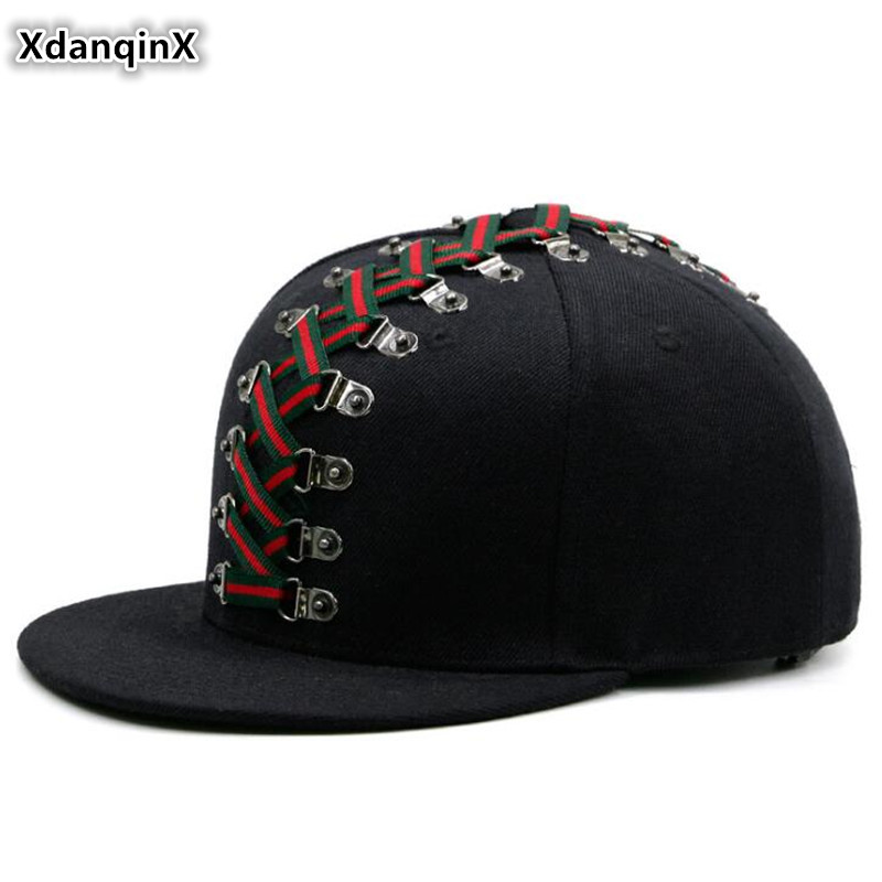 XdanqinX Novelty Punk Style Hip Hop Cap 2020 New Trend Couple Hat Men's Flat-brimmed Hats Personality Fashion Women's Brand Caps