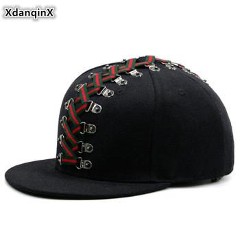 XdanqinX nowość Punk Style czapka w stylu Hip-Hop 2020 nowy Trend para kapelusz męskie kapelusze z płaskim rondem osobowość moda damska marka czapki tanie i dobre opinie 56-62cm Hip Hop Czapki Regulowany Patchwork COTTON Spring summer autumn