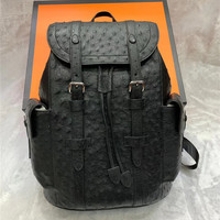 Authentic Ostrich Skin Drawstring Closure Men's Large Casual Backpack Genuine Exotic Leather Male Top handle Travel Bag Pack