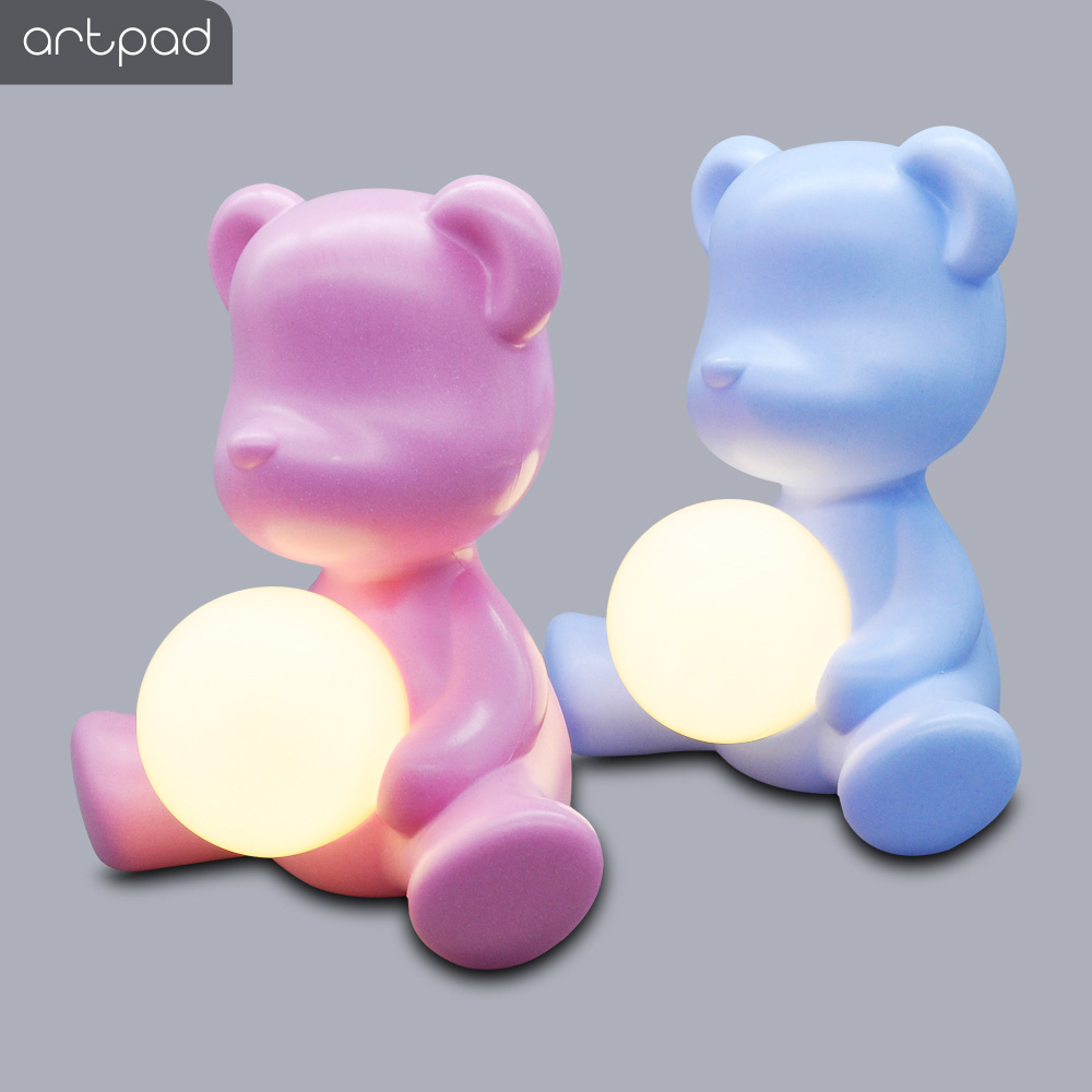 Kid Gift 5W Table Night Light Pink Blue with Plug in, Italy Design Lovely Bear ABS Bedside Study Table LED Light for Girl Boy