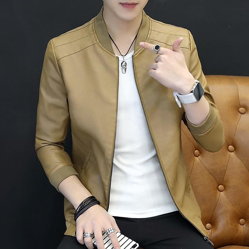 2019 Autumn MEN'S Leather Coat Slim Fit Casual Men Jacket Autumn Clothing Men PU Leather Comfortable Jacket Men's Versatile