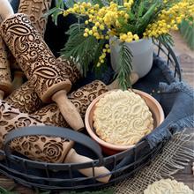 Рождественская Скалка Выгравированная резная деревянная рельефная Скалка кухонный инструмент помадка торт выгравированный ролик Цветок Глициния