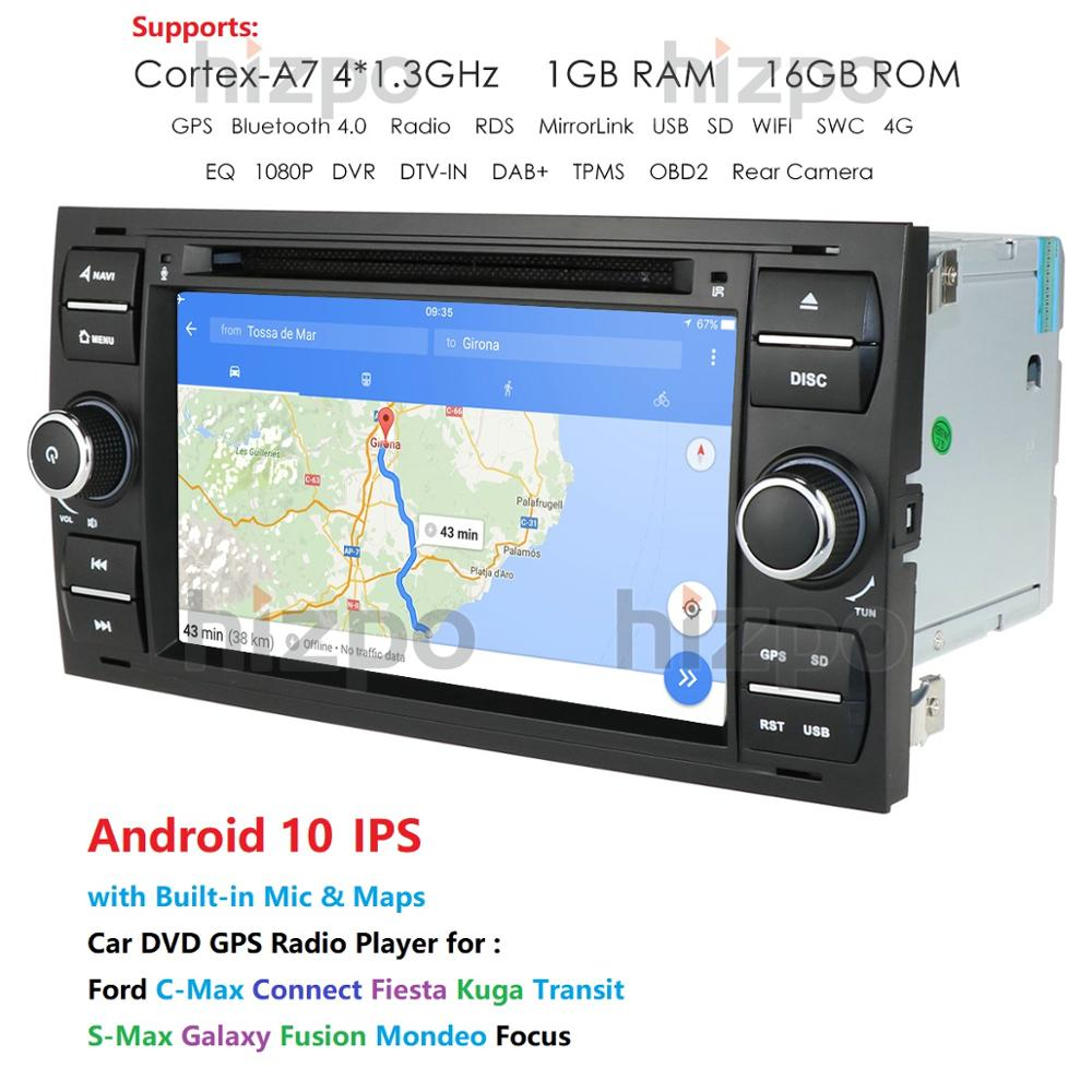 Image 2 - 1024*600 Quad Core Android 10 Car DVD GPS FOR FORDFOCUS C MAX Car DVD Player 7 IPS Touch Screen 2Din Car Multimedia RDS DVRCar Multimedia Player   -