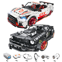 23009 Ford Mustang Hoonicorn RTR V2 Racing Car with power function led light Technic 20102 MOC 22970 building block bricks Kids