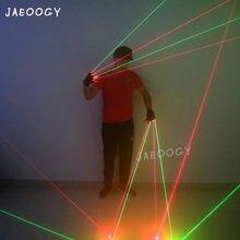 Guantes láser 2 en 1, alta calidad, rojo y verde, para cantante, DJ, accesorios de baile nocturno, espectáculo de luz de fiesta de Navidad, actuación de bailarina