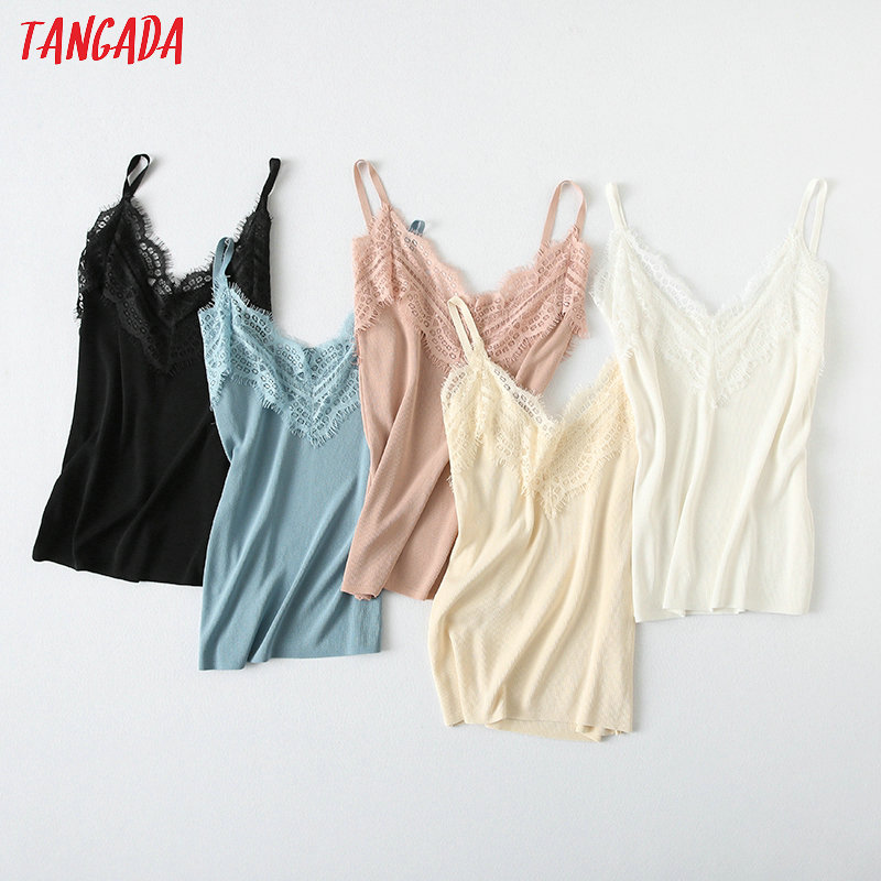 Tangada  Women Sexy Lace Patchwork Knit Camis Top Spaghetti Strap Sleeveless Shirts Female Casual Solid Tops YU74