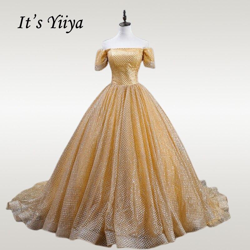 It's YiiYa Wedding Dress Elegant Boat Neck Gold Shinig Wedding Ball Gowns Plus Size Short Sleeve Long Train Robe De Mariee CH174