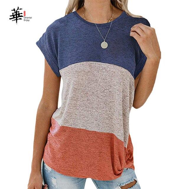 Woman Summer T-Shirt Women Ladies Casual O-Neck Bat Short Sleeve T Shirt Splice  Tops Tees Fashion T-Shirt for Women Girls 1