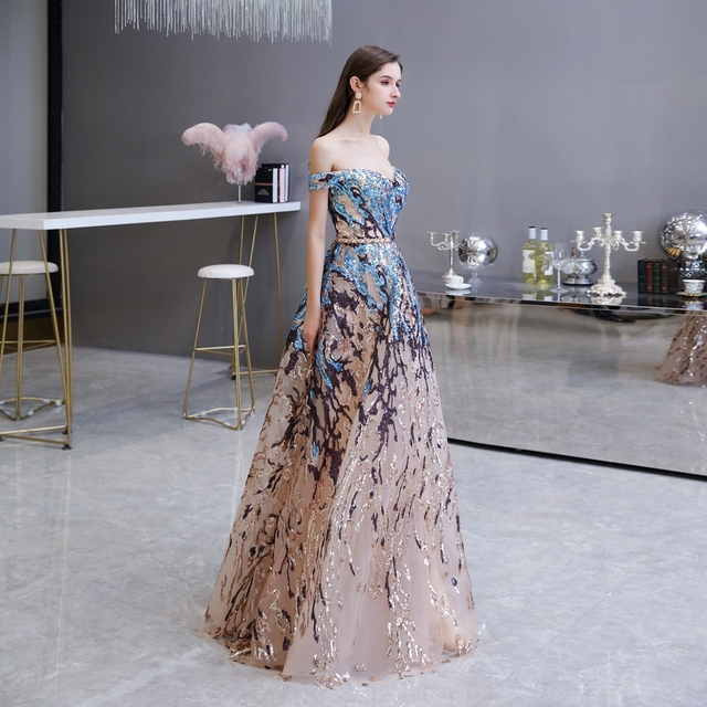 Sexy Prom Dress 2021 Colorful Sequin Off Shoulder Sweetheart Long Party A Line Formal Graduation Gown Evening Celebration Dress 4