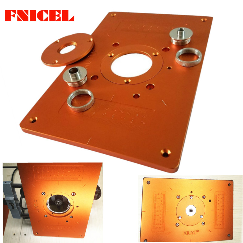 Aluminum Router Table Insert Plate With 2pcs Insert Ring And 3pcs Axle Sleeve For Woodworking Bench Tools Wood Router Table Leather Bag