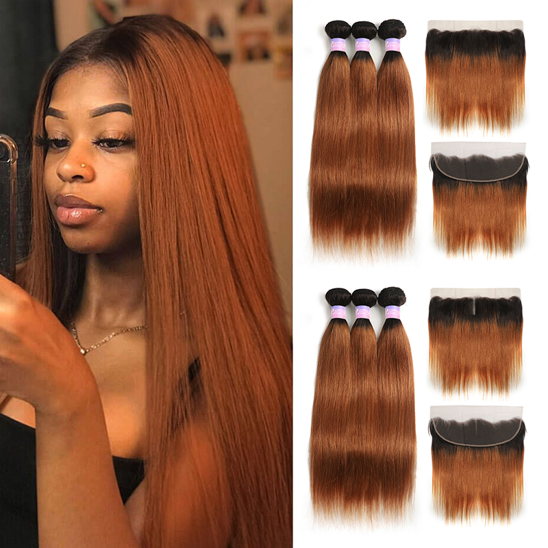 T1B/30 Ombre Brown Human Hair Bundles With Frontal 13x4 Brazilian Straight Hair Weave Bundles With Closure Non-Remy KEMY HAIR