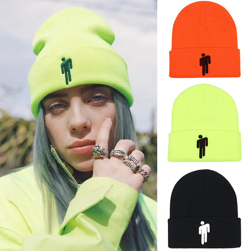 Billie Eilish Hat Knitted Beanie Hat Winter Women Billie Eilish Beanie Men Hip-hop Beanies Hats For Women Embroidery Bonnet