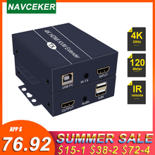 Extensor IP HDMI KVM, 2020 m, con bucle de salida, 200 P, puertos RJ45, 660ft extensor IR HDMI, HDMI, USB sobre Cat5e extensor/6, 1080