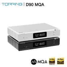 Topping decodificador D90 MQA AK4499 AK4118 Bluetooth 5,0 Full Balanced DAC, XMOS XU216,DSD512 PCM 32bit/768kHz, mando a distancia,