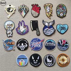(46 Styles can Choose) Hearts Clothing Patches Iron on Stripes for Badges Round Stickers on Clothes Embroidery Space Appliques