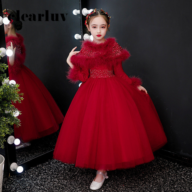 Long Sleeves Flower Girl Dresses For Weddings B026 Fake Shawl Girls Princess Dresses 2020 Long Red Crystal Thick Kids Ball Gown