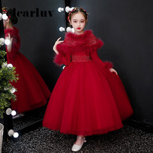 Flower-Girl-Dresses Ball-Gown Girls Long-Sleeves Weddings Kids Crystal for B026 Fake