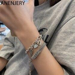 ANENJERY 925 Sterling Silver Thai Silver Bracelet for Women Vintage Heart Key Lock Trendy Bracelet Jewelry S-B467