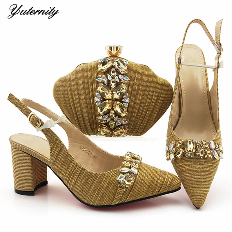 Latest Design High Quality Crystal Shoes And Matching Bag Set For Party Nigerian Elegant High Heels Shoes And Bag Set