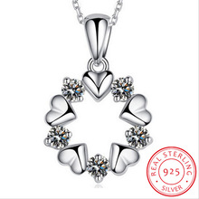 925 Sterling Silver Jewelry Love Heart Zirconia Flower Pendant Necklace For Women Gift 45cm Chain choker collares S-N153