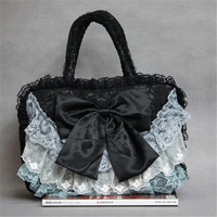 Women Totes Lace Bags Bow Tie Lolita Bags Women Bride Wedding Bags Handmade Gothic Vintage Handbag Black Pink Evening Party Bags