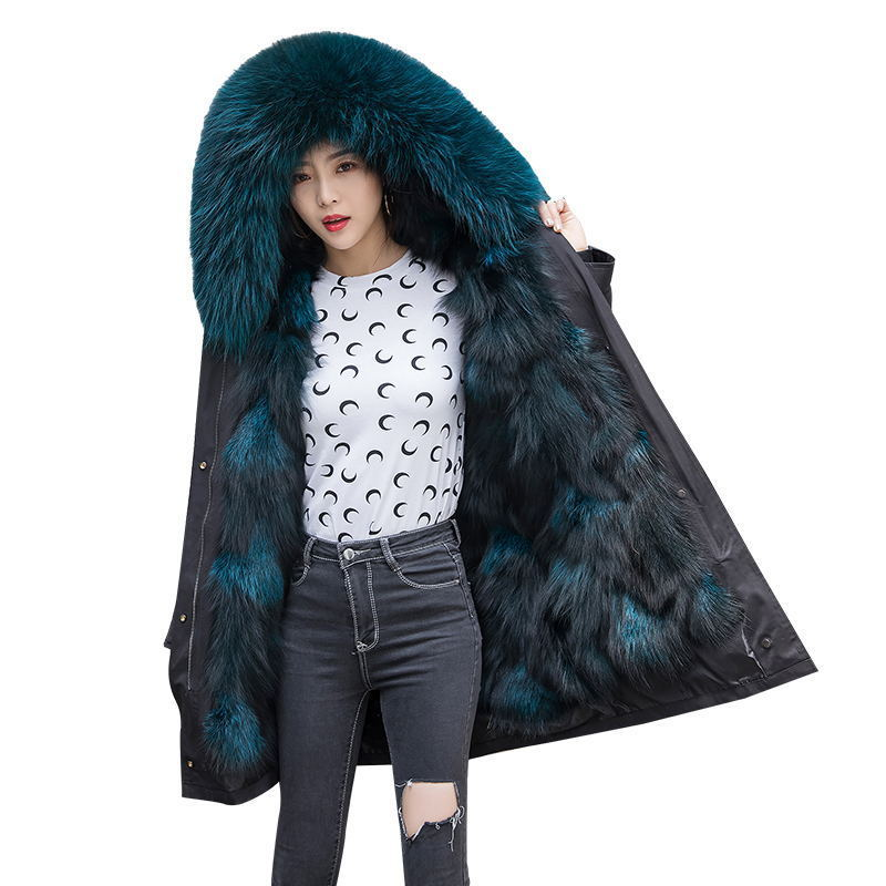 Jacket Winter Women Fox Fur Liner Parka Real Fur Coat Female Real Raccoon Fur Collar Long Coats Oversized Jackets MY4380 S S