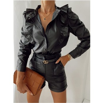 Leather Autumn Blouse Ruffle Long Sleeve Turn Button Down Collar Top Office Ladies Retro Streetwear Female Shirt Clothes 1