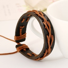 Korean Handwear Men's Students Lovers Bracelets Leather Rope Woven Female Hand Rope Jewelry Fashion Accessories
