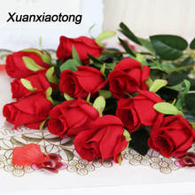 Xuanxiaotong 48cm 10pcs/set Red Silk Rose Flowers Bouquet Artificial Decoration for Wedding Table Centerpieces Family Party Deco bedding set family сайлид b red flowers
