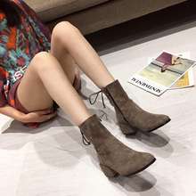 2019 Autumn Early Winter Shoes Women Single Boots High Heels Fashion Brand Female Square Heel Ankle
