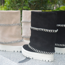 Ankle-Boots Platform-Sole Heel Woman 10CM Inner-Wedge Double-Chain Real-Photos Design