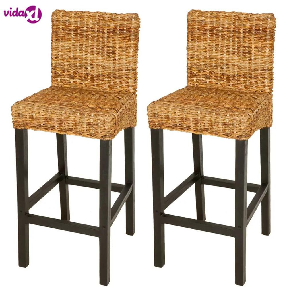 VidaXL Bar Stool Chair Made Of Mango Wood And Abaca Dark Brown Bar Stools For The Kitchen 2PCS