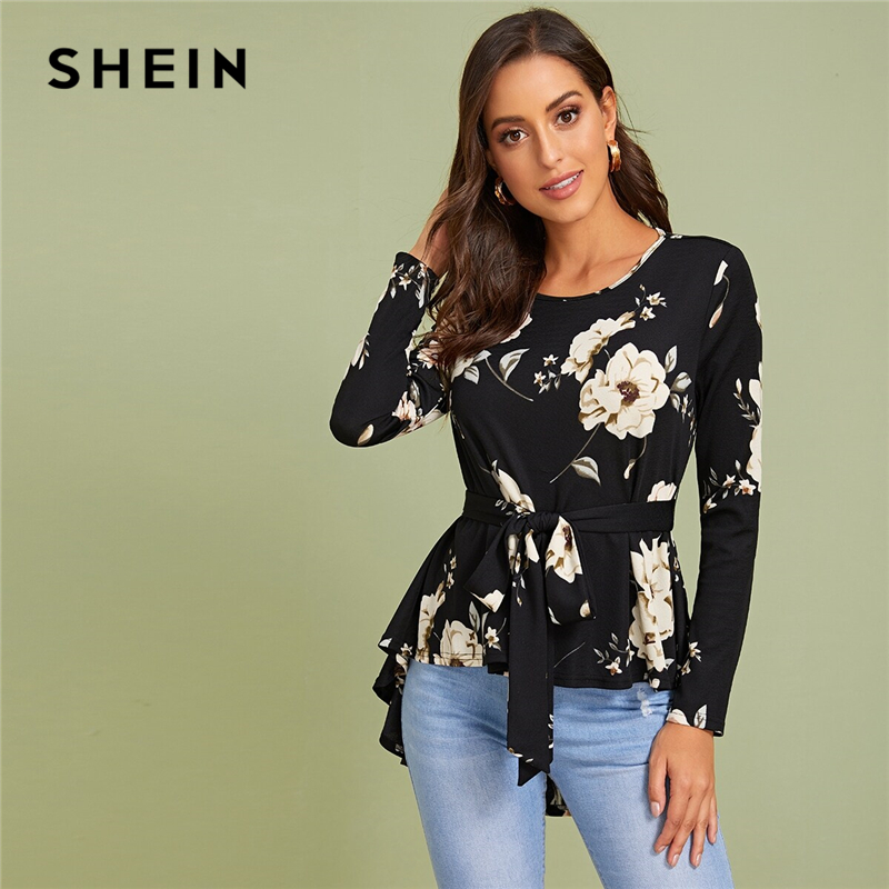 SHEIN Floral Print Self Belted Dip Hem Blouse Top Women Spring Autumn Long Sleeve Round Neck Elegant Tops And Blouses