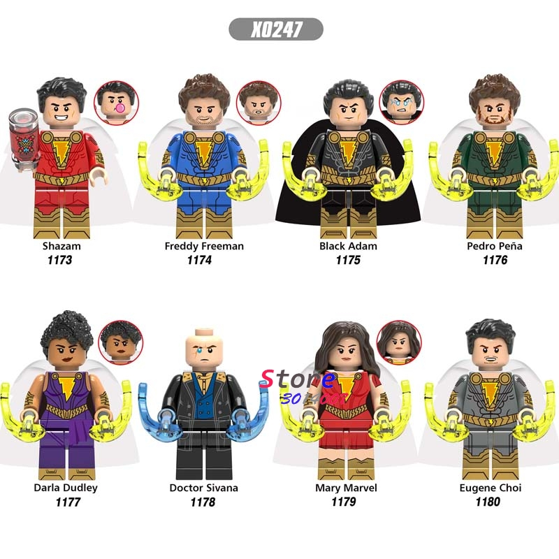 Single Super Hero New Shazam Freddy Freeman Black Adam Pedro Pena Doctor Sivana Mary Marve Eugene Choi Building Blocks Kid Toys