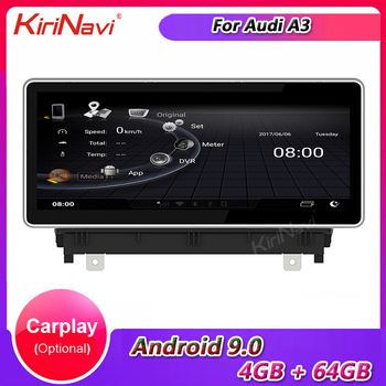 KiriNavi 10.25 Touch Screen Android 9.0 Auto Radio For Audi A3 Car DVD Multimedia Player Car Stereo Autoradio GPS 4G 2013-2016 image