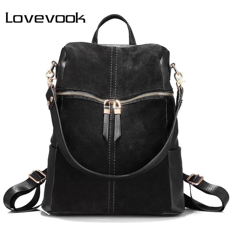 LOVEVOOK Backpack Women Genuine Leather School Bags For Teenage Girls Backpack Female Shoulder Bags For Women 2019 Black