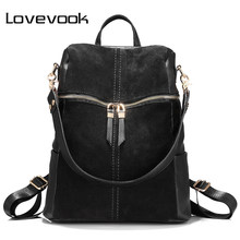 LOVEVOOK backpack women genuine leather school bags for teenage girls backpack female shoulder bags for women 2019 Black(China)