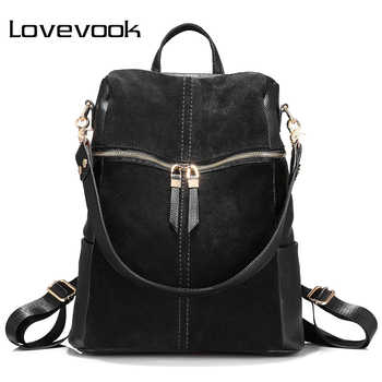 LOVEVOOK backpack women genuine leather school bags for teenage girls backpack female shoulder bags for women 2019 Black - Category 🛒 Luggage & Bags