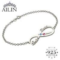 Wholesale Personalized Infinity Birthstone Bracelet Silver Double Name Bracelet Couple & Friendship Bracelet Birthstone Jewelry