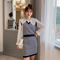 Women Skirt Slim V Neck Color Matching Vest + Two piece Outfit Skirts Blue 3511