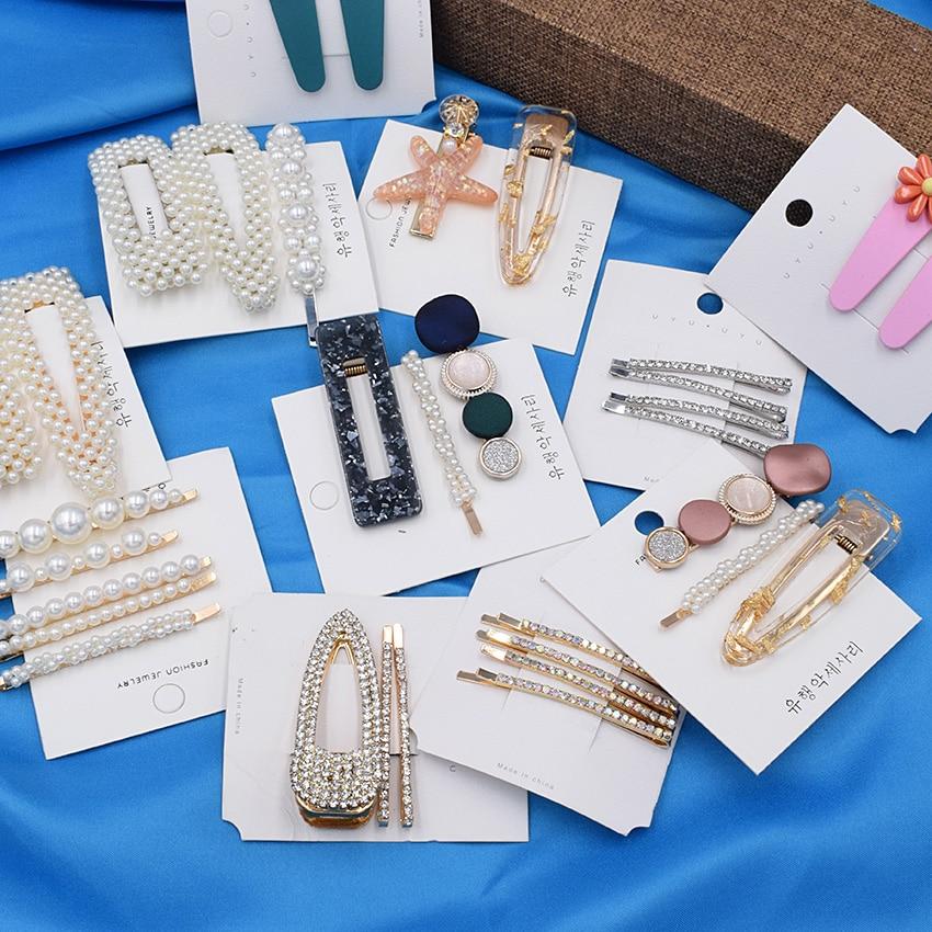 Pearl Hair Clip Set Shell Barrettes 2019 Fashion Korea  Imitiation For Women Girls Handmade  Flowers Hairpins Hair Accessories