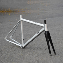 Fixed-Gear-Frame Frameset Carbon-Fork Song Silver Aluminum Friends 700c 6061 55cm Cracked