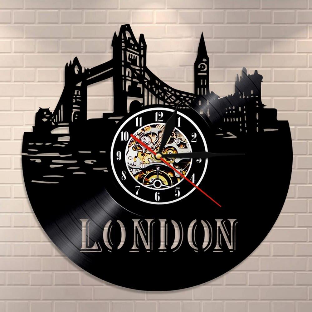 London Skyline Wall Art Wall Clock England London Cityscape Vinyl Record Wall Clock England Big Ben Scenery Travel Gift Clock
