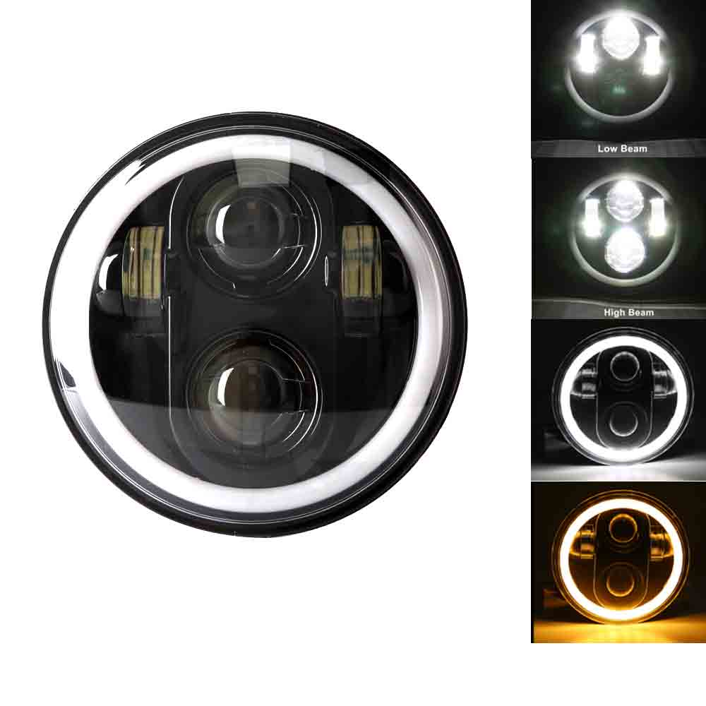 5.75 Inch LED Headlights DRL Full Halo Ring For 5 3/4
