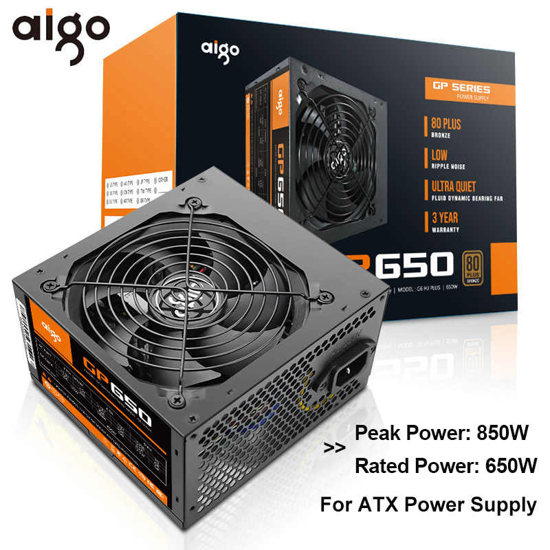 Aigo GP650 Power Supply 650W 80 Plus Bronze PC Power E-Olahraga Max 850W Pasokan Listrik untuk komputer 12V ATX 12 Cm Fan Power Supply
