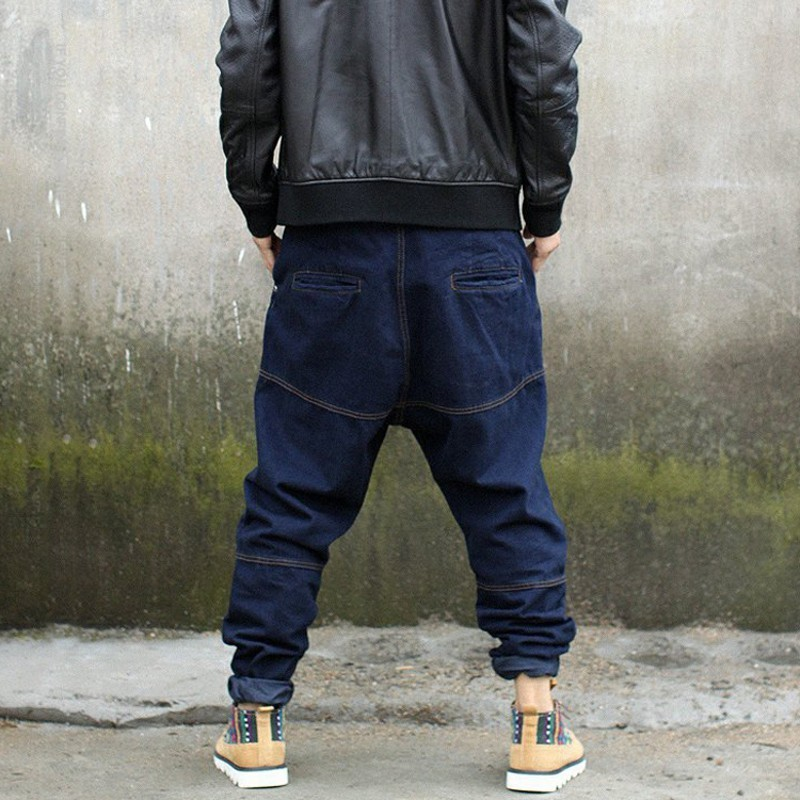Hip Hop Korea Mens Full Length Cross Denim Harem Pants Loose Fit Plus Size S-4XL Fashion Street Dance Pants Hanging Carrot Pants