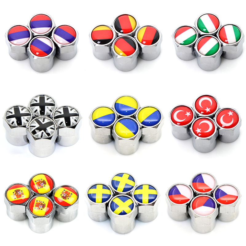 UK USA ITALY FRANCE GERMAN RUSSIA National Flags Car ABS Wheel Tires Valves Aluminum Tyre Stem Air Caps Decorating Accessories